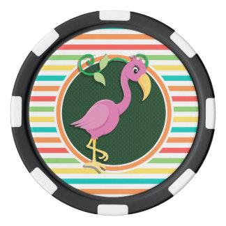 Rosa Flamingo auf hellen Regenbogen-Streifen Poker Chips