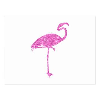 Rosa Flamingo-Imitat-Glitter-Flamingo-tropischer Postkarte