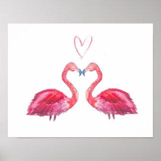 Rosa Flamingo-Liebe-Herz-Wasserfarbe Poster