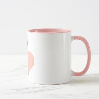 Rosa Flamingo-Liebe-Kreis-Verzierung, Flamingo Tasse