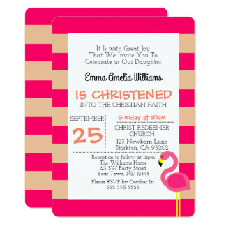 Rosa Flamingo-personalisierte Taufe-Einladung 12,7 X 17,8 Cm Einladungskarte