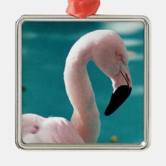 Rosa Flamingo Quadratisches Silberfarbenes Ornament