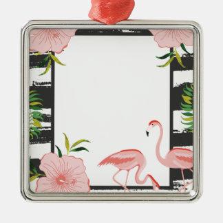 Rosa Flamingo-Schwarzweiss-Streifen Quadratisches Silberfarbenes Ornament