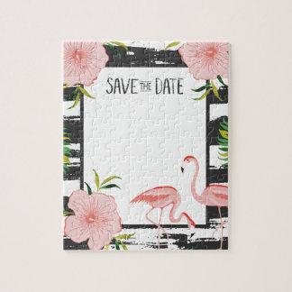 Rosa Flamingo-Schwarzweiss-Streifen retten Datum Puzzle