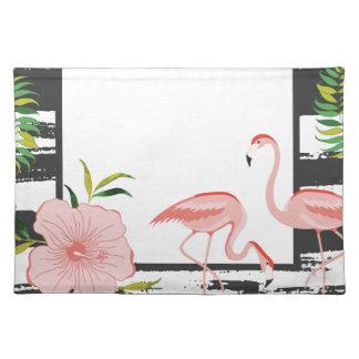 Rosa Flamingo-Schwarzweiss-Streifen Tischset