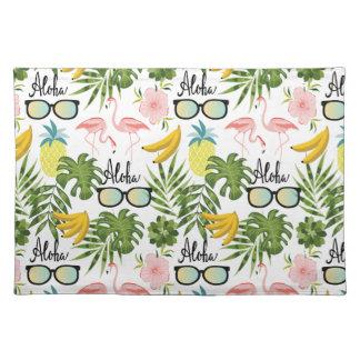 Rosa Flamingo-Sonnenbrille-tropisches Aloha Muster Stofftischset