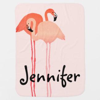 Rosa Flamingo-Strand-Hochzeit Kinderwagendecke