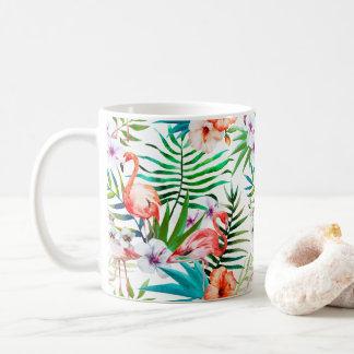 Rosa Flamingo-tropischer BlumenBlumenChic Tasse