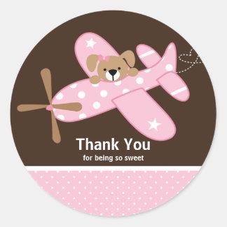 Rosa Flugzeug danken Ihnen Babyparty-Aufkleber Runder Aufkleber