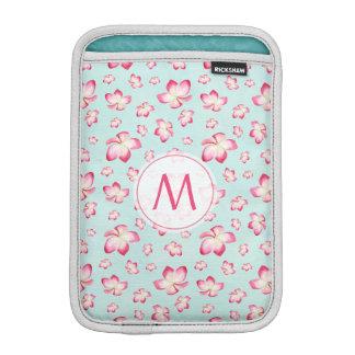 Rosa Frangipani-Monogramm-Aqua iPad Mini Sleeve