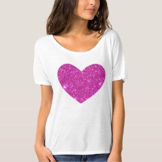 Rosa funkelndes Schein-Herz-T-Shirt T-Shirt