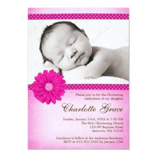 Rosa Gänseblümchen-Schein-Foto-Taufe-Taufe 12,7 X 17,8 Cm Einladungskarte
