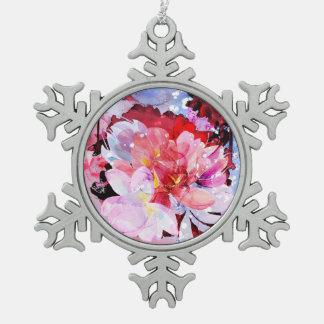 Rosa Gartenillustration der Watercolor-Blumen Schneeflocken Zinn-Ornament