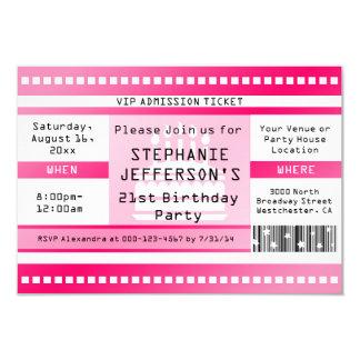 Rosa Geburtstags-Party-Aufnahme-Karte 8,9 X 12,7 Cm Einladungskarte