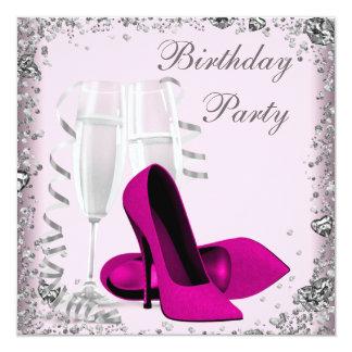Rosa Geburtstags-Party hoher Heels-Champagne Quadratische 13,3 Cm Einladungskarte