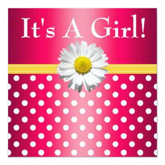 Rosa gelbe Gänseblümchen-Babyparty-Einladung Quadratische 13,3 Cm Einladungskarte