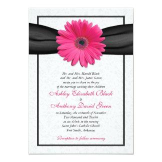Rosa Gerbera-Schwarz-Band-Hochzeits-Einladung 12,7 X 17,8 Cm Einladungskarte