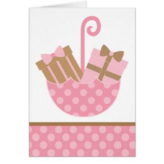 Rosa Geschenke im Regenschirm danken Ihnen Karte