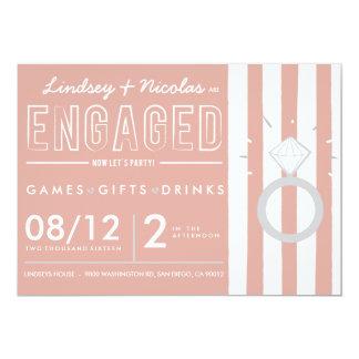 Rosa gestreifte Verlobungs-Party Einladung