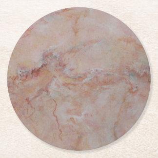 Rosa gestreiftes Marmorsteinende Runder Pappuntersetzer