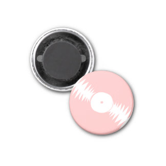 Rosa Girly Groovy 70er des Vinylrekordalbums | Runder Magnet 3,2 Cm