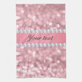 Rosa Glitter Bokeh und Diamanten personalisiert Handtuch