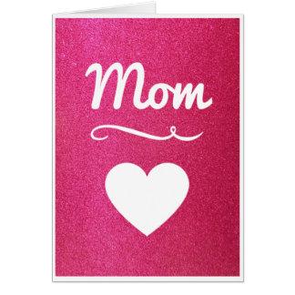 Rosa Glitter-Herz-Mamma-Karte Karte