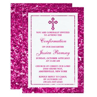 Rosa Glitter-Kreuz-heilige Kommunion oder Karte