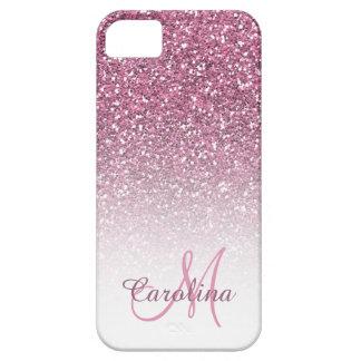 Rosa Glitter, Name und Monogramm, Girly Etui Fürs iPhone 5