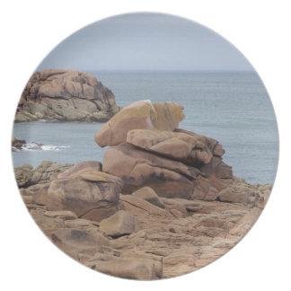 Rosa Granitküste in Bretagne Melaminteller
