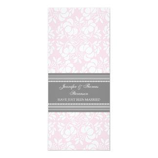 Rosa graue Damast-gerade verheiratete 10,2 X 23,5 Cm Einladungskarte