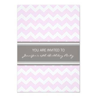 Rosa graue Zickzack 25. Geburtstags-Party 12,7 X 17,8 Cm Einladungskarte