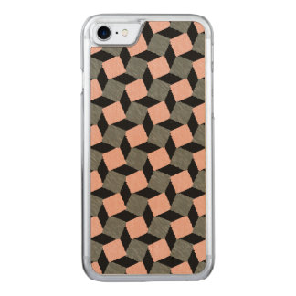 Rosa graues abstraktes geometrisches Ikat Carved iPhone 8/7 Hülle