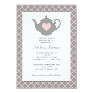 Rosa + Graues Quatrefoil Baby-Duschen-Tee-Party Karte