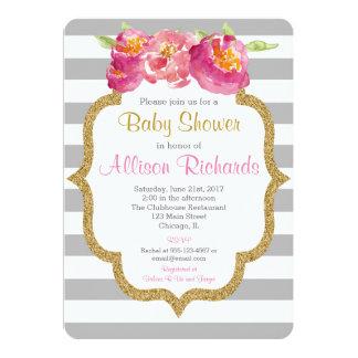 rosa graues Weiß stripes Babypartyeinladung Karte
