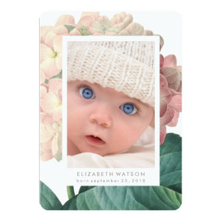 Rosa große Blumen-Foto-Karten-Geburts-Mitteilung 12,7 X 17,8 Cm Einladungskarte