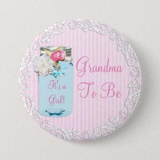 Rosa Großmutter-Weckglas-rustikaler schäbiger Runder Button 7,6 Cm