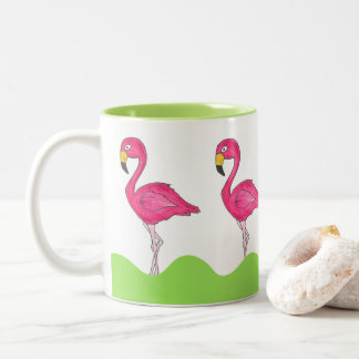 Rosa grüne tropische rosa Flamingo-Flamingo-Tasse Zweifarbige Tasse