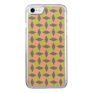Rosa grünes abstraktes geometrisches Ikat Carved iPhone 8/7 Hülle