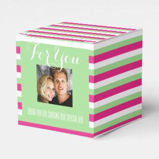 Rosa grünes Hochzeits-Foto 1b Geschenkkarton