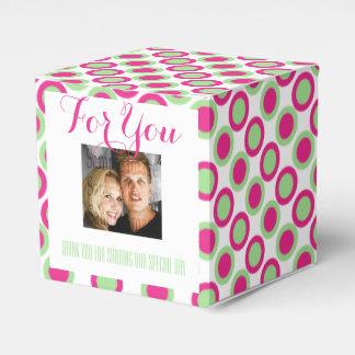 Rosa grünes Hochzeits-Foto Geschenkschachtel