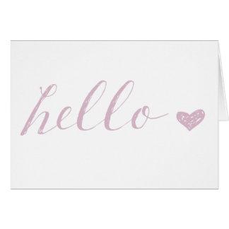 Rosa-hallo Herz Karte