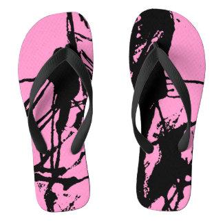 Rosa Hausschuhe Pink Black ink artistic pattern Badesandalen