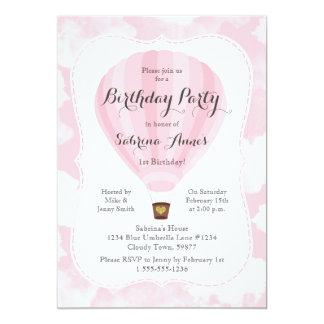Rosa Heißluft-Ballon-Mädchen-Geburtstags-Party 12,7 X 17,8 Cm Einladungskarte