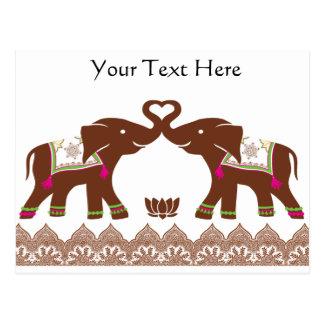 Rosa Hennastrauch-Liebe-Elefanten Postkarte