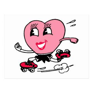 Rosa Herz auf Rollen-Skaten Postkarte