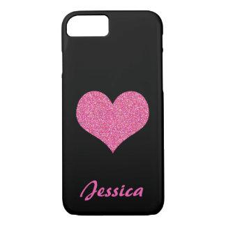 Rosa Herz auf schwarzem personalisiertem Girly iPhone 7 Hülle