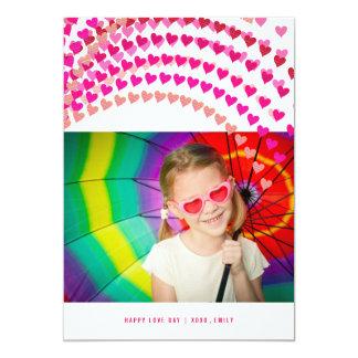 Rosa Herz besprüht Foto-Karte des Valentines Tages 12,7 X 17,8 Cm Einladungskarte