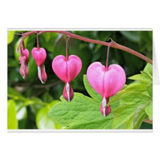 Rosa Herz-Blume, leere Grußkarte