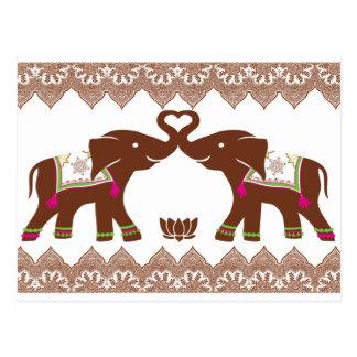 Rosa Herz-Elefant-Karte Postkarte